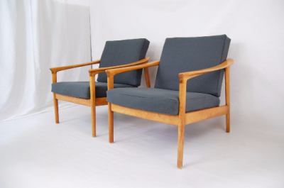 North west, West coast, Furniture, vintage, Seattle, Folke Ohlsson Lounge chiars, Dux, Grey, upholstery, mid century 55, Etsy, mid century modern furniture, pair, oak, Scandinavian, Danish modern, Denmark, MCM, mod, Seattle, vintage, lounge chair,
