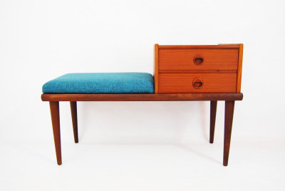 North west, West coast, mcm, mod, mid century modern, vintage, furniture, teak, mid century 55, midcentury55, Seattle, teak, telephone bench, Ganddal Mobelfabrik, Norway, entry table, front door, side table, end table, drawers, tapered legs, Scandinavian, Danish modern, Denmark, George Nelson, bench, storage, Washington,