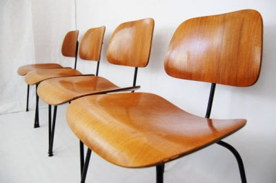 North west, West coast, Seattle, Washington, mcm, mod, mid century modern, vintage, furniture mid century 55, midcentury55, Danish Modern,  DCM, Charles and Ray Eames, Eames, dining chairs, Herman Miller, plywood, 1950s, 1953, black metal, set of 4,