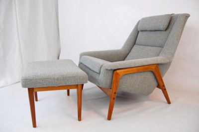 North west, West coast, Seattle, Washington, mcm, mod, mid century modern, vintage, furniture mid century 55, midcentury55, Danish Modern, Seattle, Herman Miller, Dux, Folke Holsson, Lounge chair and ottoman, teak, grey,1950s, Sweden, Swedish, gray, Camira,