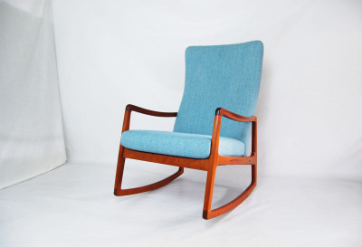 Ole Wanscher, teak, lounge chair, rocking chair, wool fabric, newly upholstered, blue, light blue, France and son, 1960, Scandinavian, Denmark, Danish modern, furniture, 1960s, MCM, North west, West coast,  Seattle, Washington, WA, mcm, mod, mid century modern, vintage, mid century 55, 1950s, vintage, furniture, midcentury55,