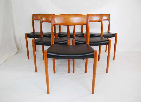 Niels Otto Moller, j l moller, teak, dining chairs, black leather, set of 6, model 77, 1960, Scandinavian, Denmark, Danish modern, furniture, 1960s, MCM, North west, West coast,  Seattle, Washington, WA, mcm, mod, mid century modern, vintage, mid century 55, 1950s, vintage, furniture, midcentury55,