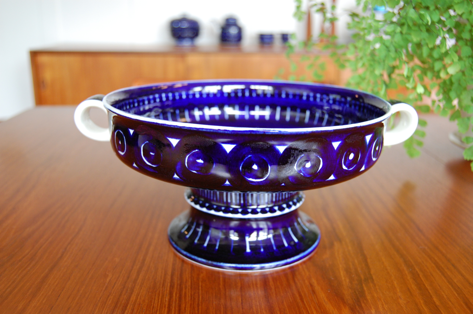 Danish modern, mcm, mod, Scandinavian, home decor, Arabia Finland, Valencia, Footed Fruit Bowl, with handles, Ulla Procope, cobalt blue,  vintage,  midcentury55, Seattle