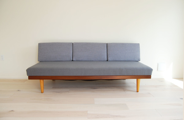 Danish modern, mcm, mod, Scandinavian, home decor, vintage, Ingmar Relling, Swane Mobelfabrik, teak, daybed, sofa, couch, refinished, new upholstery, Seattle, midcentury55, furniture, living room, guest bed,