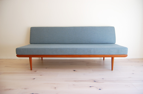 Danish modern, mcm, mod, Scandinavian, home decor, vintage, Peter Hvidt, France and son, teak, daybed, sofa, couch, refinished, new upholstery, Seattle, midcentury55, furniture, living room, guest bed,