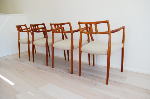Vintage, mid century modern, Home decor, 1960s, MCM, North west, West coast,  Seattle, Washington, WA, mod, mid century modern, mid century 55, 1950s, vintage, furniture, midcentury55, Scandinavian, Danish modern, teak, dining chairs, made in Denmark, minimalist, armchairs, white upholstery, model 64, set of 4, J L Moller, Niels Otto Moller,
