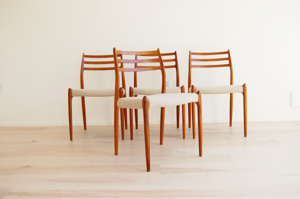 J L Moller, Model 78, set of 4, dining chairs, teak, white upholstery, wool fabric, vintage, Denmark, Danish modern, Scandinavian, mcm, mod, home decor, vintage, Seattle, midcentury55, furniture,