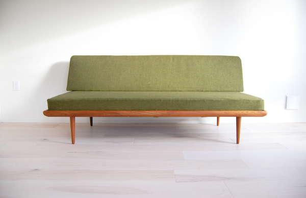 Peter Hvidt, Daybed, sofa, couch, green, teak, France and Son, Denmark, Vintage, retro, guest bed, Scandinavian, Danish modern, modern, mcm, mod, Scandinavian, home decor, vintage, Seattle, midcentury55, furniture,