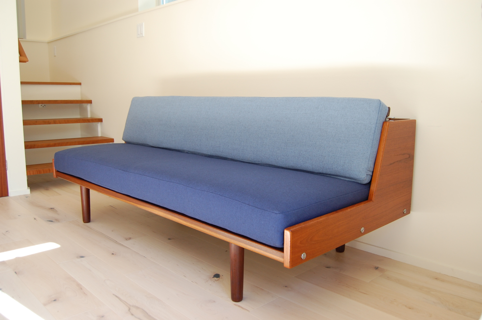 Hans J Wegner, Daybed, sofa, couch, multifunction, Getama, #9, Denmark, blue, Camira, wool fabric upholstery, solid, refinished, Danish modern, teak, Denmark, Scandinavian, Danish modern, modern, mcm, mod, Scandinavian, home decor, vintage, Seattle, midcentury55, furniture,